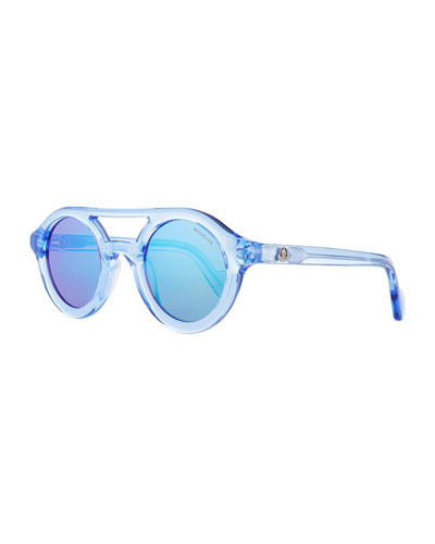 Double-Bridge Round Plastic Universal Fit Sunglasses