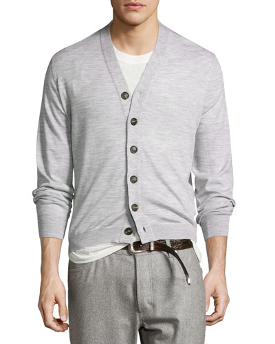 Fine-Gauge Wool-Blend Button Cardigan, Light Gray