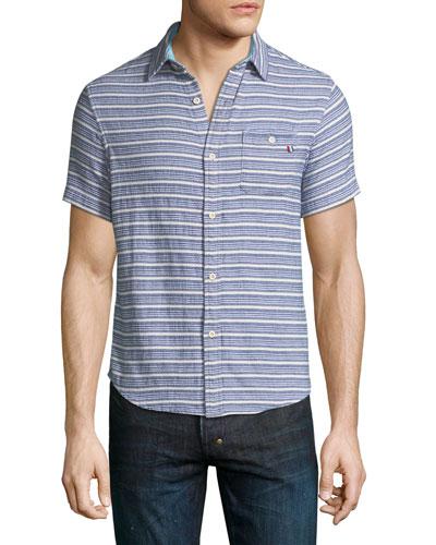 Indigo Striped Short-Sleeve Sport Shirt