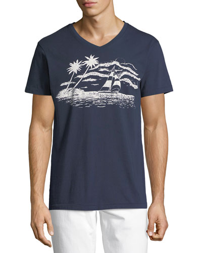 Sail Away Graphic V-Neck T-Shirt