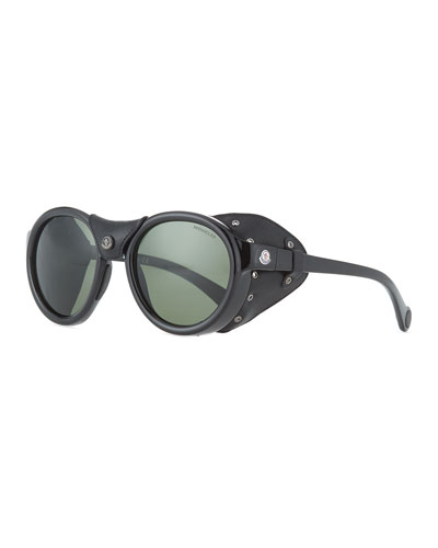 Round Acetate Sunglasses w/ Leather Trim, Black/Green