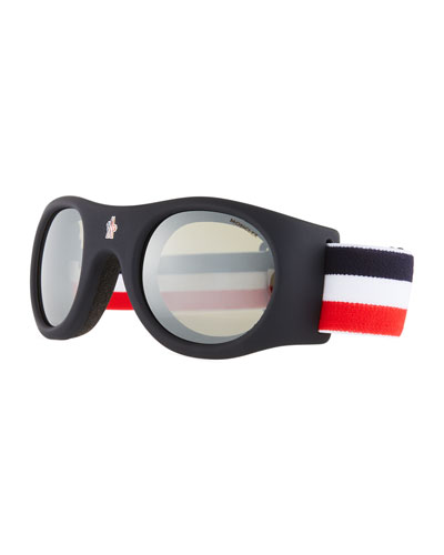 Round Goggle Sunglasses w/ Wide Elastic Band, Blue
