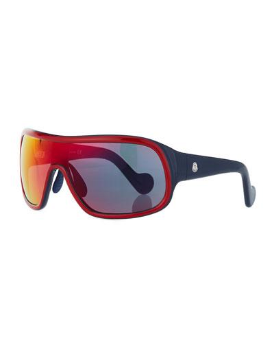 Two-Tone Mirrored Shield Sunglasses, Red/Gray
