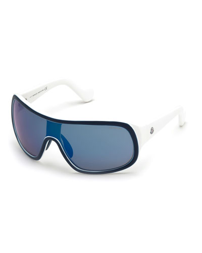 Mirrored Shield Sunglasses, Blue