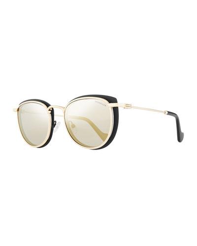 Metal Cat-Eye Mirrored Universal Fit Sunglasses, Black/Gold