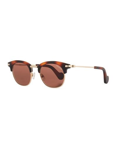 Half-Rim Universal Fit Sunglasses, Brown