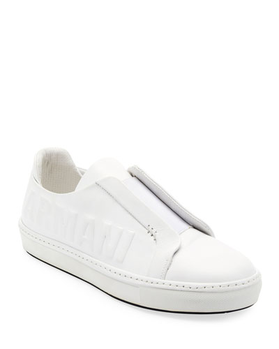 Men's Logo-Embossed Slip-On Low-Top Sneakers, White