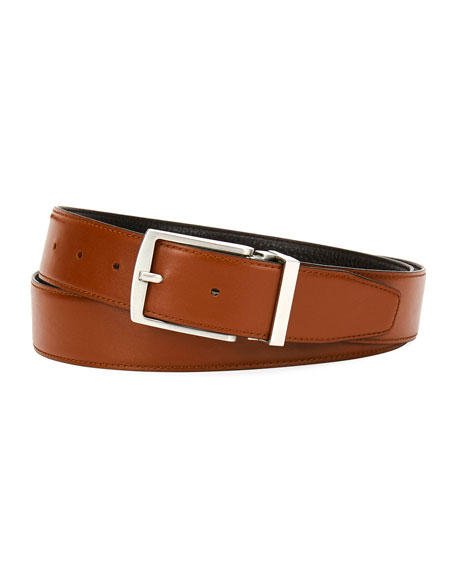 Giorgio Armani Traditional Dual-Textured Leather Belt