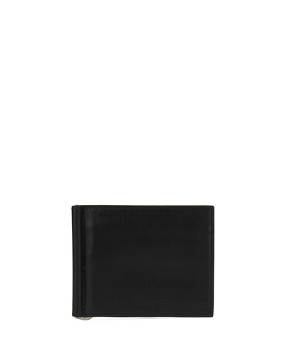 Smooth Leather Bi-Fold Wallet with Money Clip