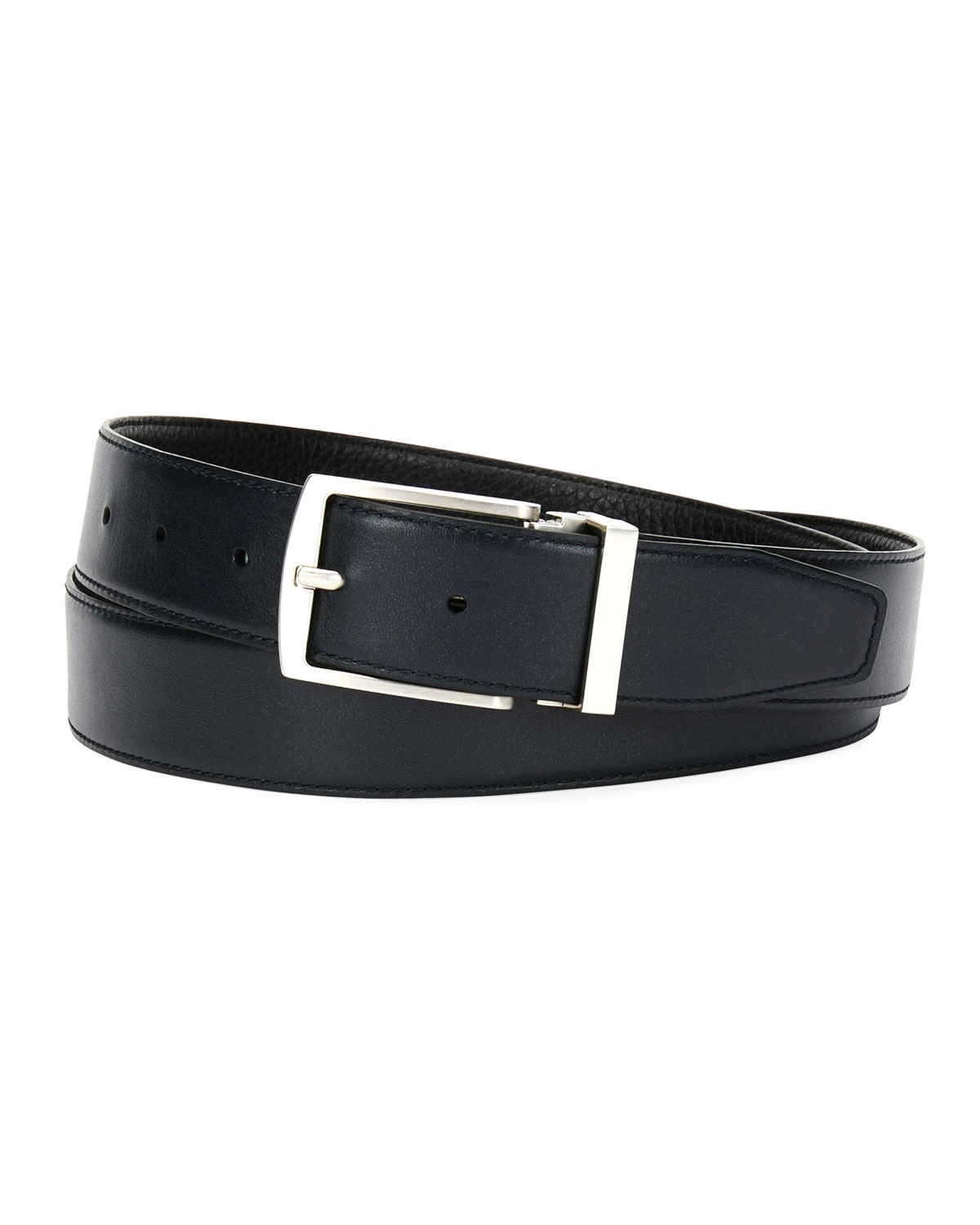 Traditional Dual-Textured Leather Belt