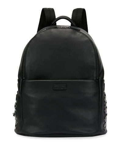 Armani Leather Backpack, Black