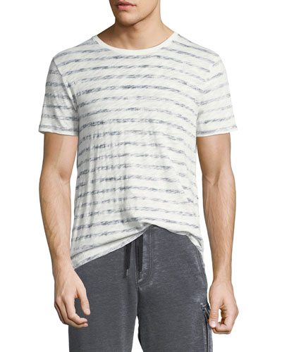 Distressed Painted-Stripe T-Shirt