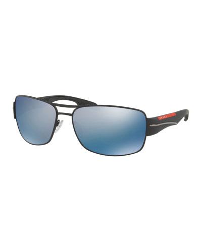 Men's Polarized Mirrored Rectangular Metal Sunglasses
