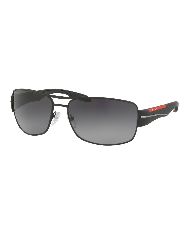 Men's Gradient Polarized Rectangular Metal Sunglasses