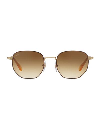 Metal Universal Fit Pilot Sunglasses with Gradient Lenses