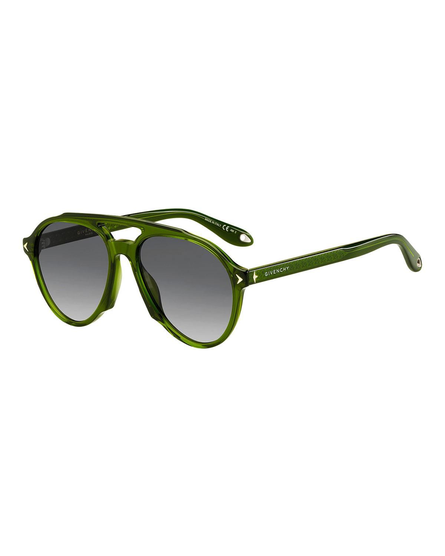 Acetate Aviator Sunglasses, Green