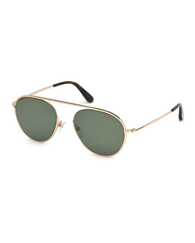 56b0a29b65 Quick Look. TOM FORD · Keith Men s Round Brow-Bar Metal Sunglasses