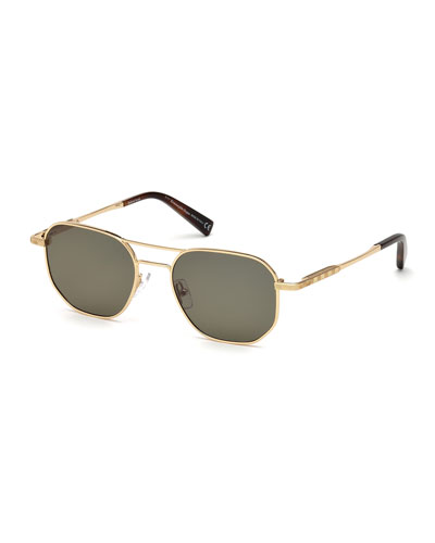 Square Metal Aviator Sunglasses, Brown Pattern