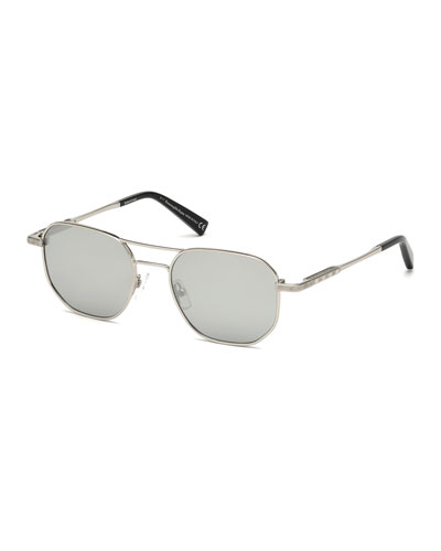 Square Metal Aviator Sunglasses, Gray