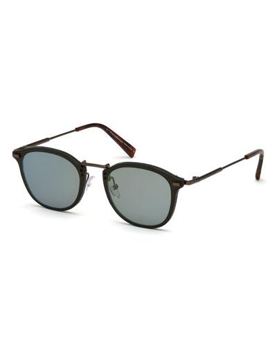 Metal & Plastic Square Sunglasses, Green