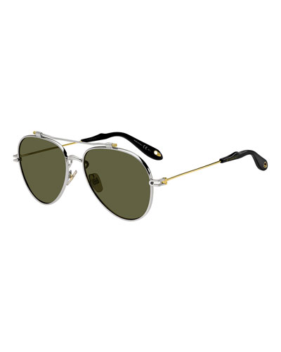 Men's GV 7057 Aviator Sunglasses, Silver