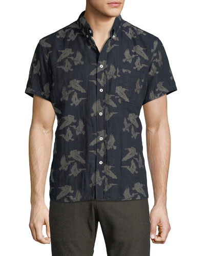 Tuscumbia Bird-Print Short-Sleeve Sport Shirt