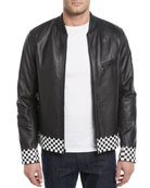 Checker-Trim Leather Biker Jacket