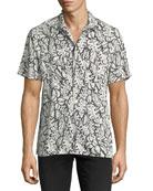 Leaf-Print Beach Shirt