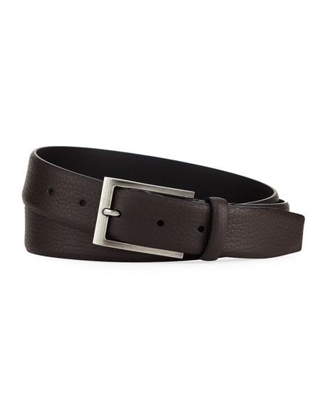 Ermenegildo Zegna Matte Reversible Belt, Dark Brown
