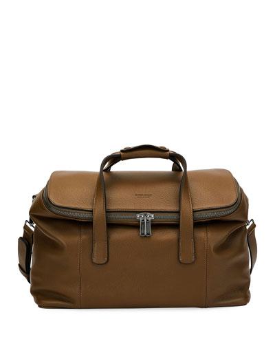 Deerskin Leather Weekender Bag, Light Brown