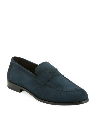 Men's Calf Suede Penny Loafer Shoe