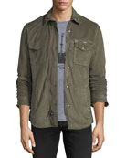 Light Suede Zip-Front Shirt Jacket