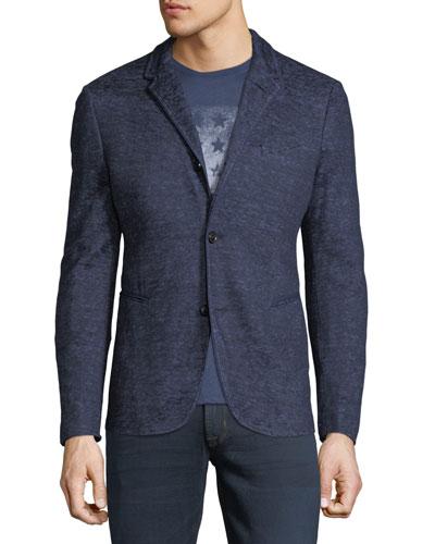 4-Button Heathered Cotton/Linen Jacket