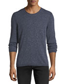 Heathered-Knit Crewneck Top
