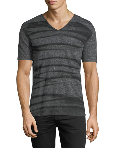 Striped V-Neck Linen T-Shirt