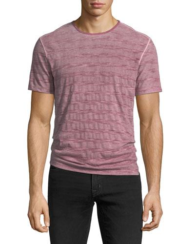 Reverse Spray Striped Crewneck T-Shirt