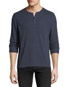 Heathered-Knit Henley Shirt