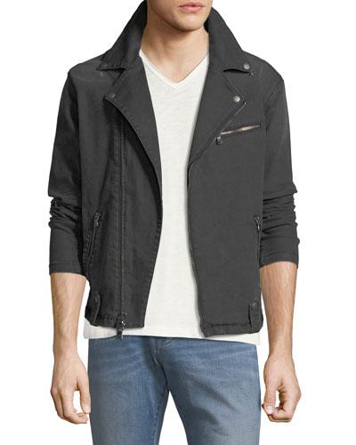Denim Asymmetric-Zip Moto Jacket