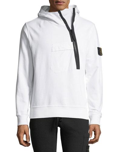 Asymmetric-Zip Hooded Sweatshirt