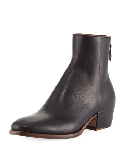 GB3 Back-Zip Leather Ankle Boot