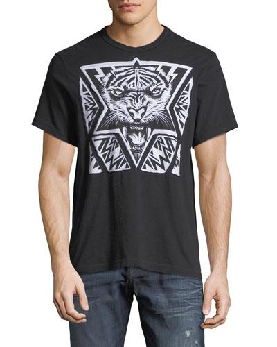 Laser-Cut Tiger Graphic T-Shirt