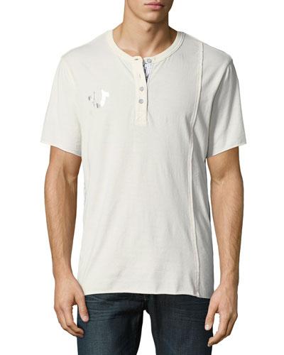 Raw-Edged Short-Sleeve Henley Shirt