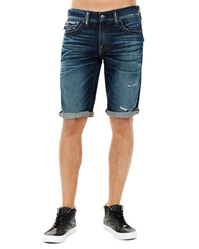 Ricky Flap-Pocket Rolled-Cuff Denim Shorts