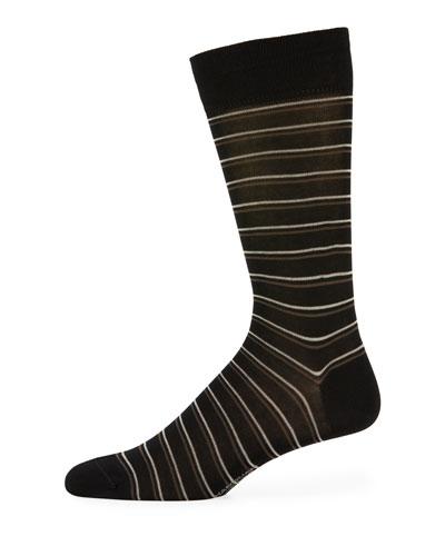Double Striped Cotton-Blend Socks