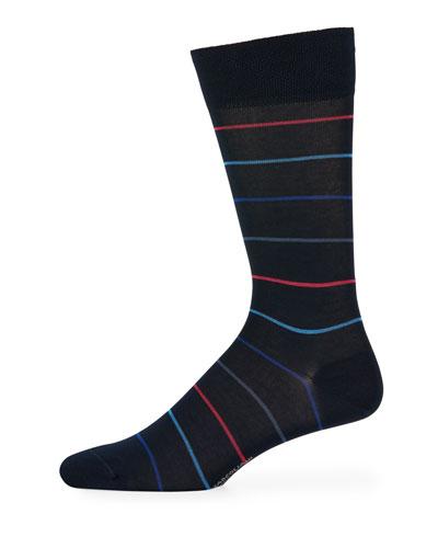 Scala Striped Cotton-Blend Socks
