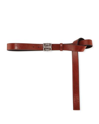 4-G Engraved Long Leather Belt