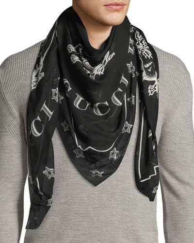 Dragon-Print Silk Shawl Scarf