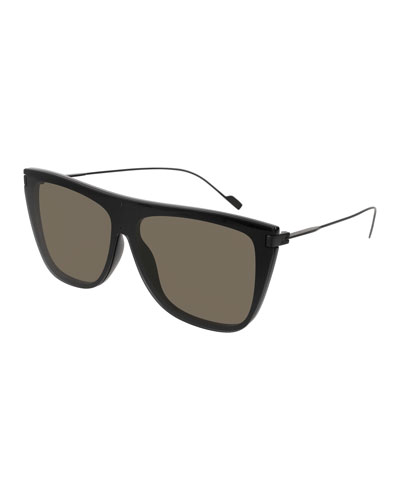 Flat-Top Titanium Shield Sunglasses