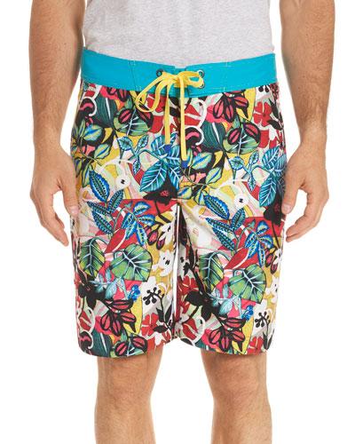 Barbarito Floral-Print Swim Trunks