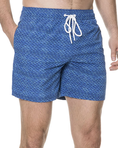 Halden Wave-Print Swim Trunks